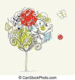 Hand-Drawn tree. Sketch 2