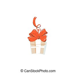 Hand drawn vector abstract fun Merry Christmas time cartoon icon illustration with home made craft paper surprise gift box with red bow isolated on white background
