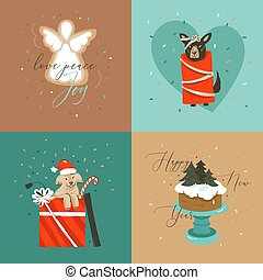 Hand drawn vector abstract Merry Christmas and Happy New Year cartoon illustration greeting cards collection set with dogs, xmas cake and Merry Christmas text isolated on colored background