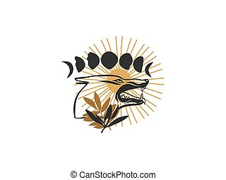 Hand drawn vector abstract stock flat graphic illustration with logo elements ,howling wolf head and moon magic line art in simple style for branding ,isolated on white background