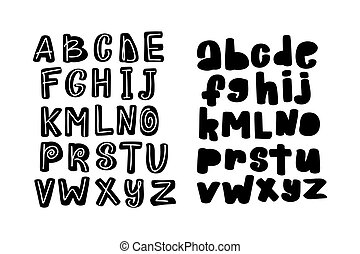 Hand drawn vector alphabet brush font. Isolated letters