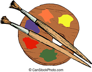 hand drawn, vector, cartoon image of artistic palette