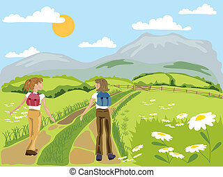 hand drawn vector illustration in eps format of two young women hiking through green flowery hills towards distant mountains