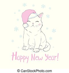 Hand drawn vector illustration of a cute funny cat face in Santa Claus hat, muffler, text Warmest wishes. Isolated objects on white background. Design concept for kids, winter holidays, Christmas.