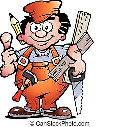 Hand-drawn Vector illustration of an Carpenter Handyman