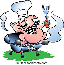 Hand-drawn Vector illustration of an Chef Pig standing on a BBQ barrel