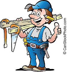Hand-drawn Vector illustration of an Happy Carpenter Handyman