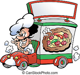 Hand-drawn Vector illustration of an Italien pizza dilevery car