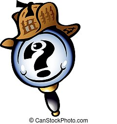Hand-drawn Vector illustration of an Mangifying Detective
