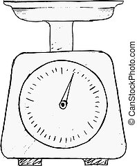 hand drawn, vector, sketch illustration of domestic weigh-scales
