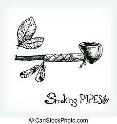 Hand drawn vector smoking indian pipe, sketchy engraving style.