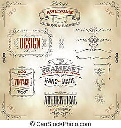 Hand Drawn Vintage Banners And Ribbons
