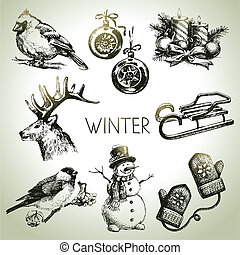 Hand drawn winter Christmas set