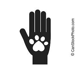 hand foot print love pet animal icon. Vector graphic
