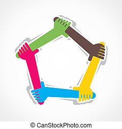 hand join team work or support each other stock vector