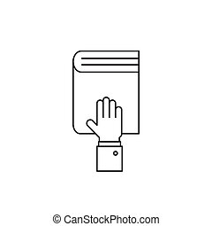 Hand on the book line icon