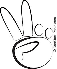 Hand-Peace symbol logo vector