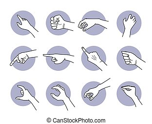 Hand pointing and grabbing gestures.