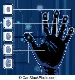 illustration of finger print testing with hand scanning