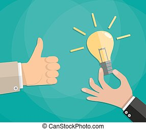 Hand thumb up with bulb light