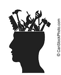 some Hand tools put in the human head