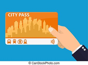 Hand with city pass. Bus, train, subway travel ticket with cashless payment system. Card with map of city with roards and houses. Vector illustration in flat style