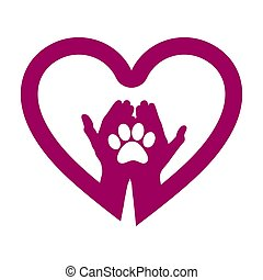 Hand with dog paw in heart icon. Concept of love your dog.