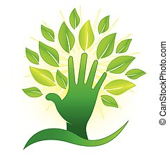 Hand with green leafs and rays icon concept vector concept