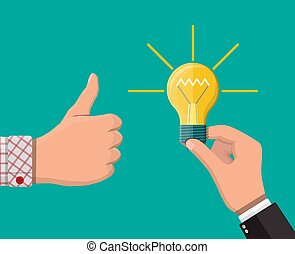 Hand with idea bulb, other hands showing thumbs up