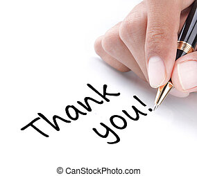Hand writing thank you, isolated on white background