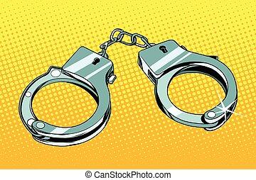 Handcuffs arrest crime pop art retro vector. Iron shackles, the symbol of prison