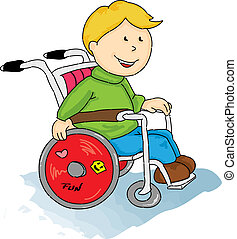 A handicapped boy in a Wheelchair.