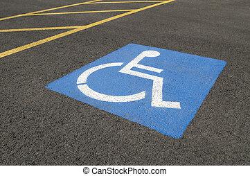 Handicapped Parking Symbol in Parking Lot