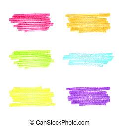 Vector handmade marker stripes different bright colors. set of six design elements
