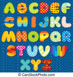Stitches Patchwork Font, Vector Colorful Motley Alphabet for your Design and Text