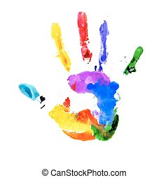 Handprint in colors of the rainbow isolated on white