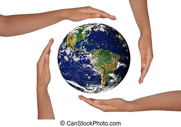 Hands Around a Satelite View of the Earth