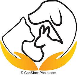 Hands care pets logo vector