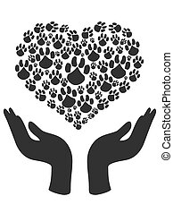 hands hold Heart Paw symbol