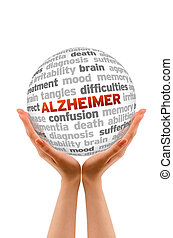 Hands holding a Alzheimer Word Sphere sign on white background.