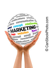 Hands holding a Marketing Word Sphere on white background.