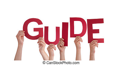 Many Hands Holding the red Word Guide, Isolated