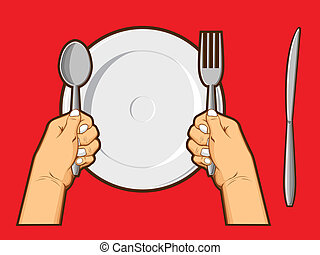 An isolated vector of a hand holding spoon, fork, & knife above a plate. The spoon, fork, & knife are changeable. Good for many application, especially for logo of restaurant or such. Available as a Vector in EPS8 format that can be scaled to any size without loss of quality. The graphics elements ...