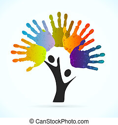 Hands tree vector concept illustration