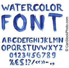Handwritten blue watercolor alphabet with numbers and symbols. Vector