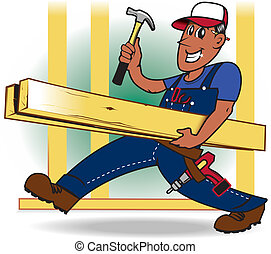 A happy tradesman carrying lumber and tools