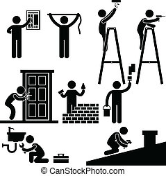 A set of pictogram representing worker fixing, repairing, and constructing a house.