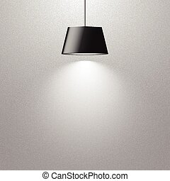 hanging black lamp on gray texture wall