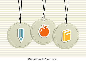 Hanging school badges elements.