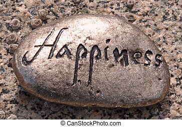 a silver colored rock with the word Happiness written on it with a speckled rock background.